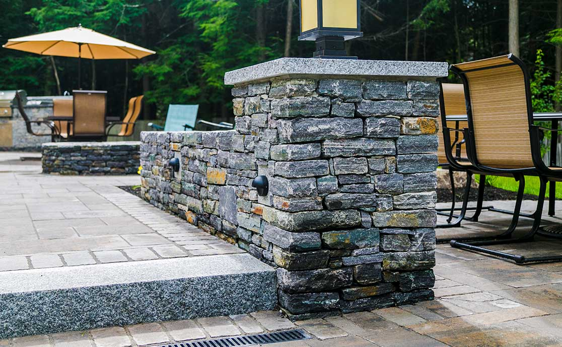 Residential Patio & Stone Wall Installation