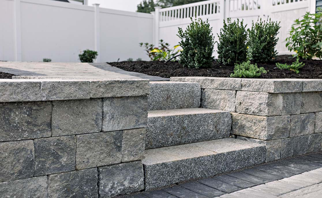 Residential Stone Steps Installation in Southern Maine